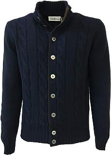 Della Ciana Cardigan Uomo Blu con trecce 18566 80% Lana 20% Cashmere Made in Italy
