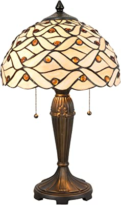 Lumilamp 5LL-5181 Lampe de table style Tiffany Naturel Ø 30 x 50 cm / E27 / max. 2 x 40 W Abat-jour en verre décoratif style rétro antique