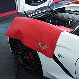 C7 Corvette Fender Cover Mat with Crossed Flags Logo (Red)
