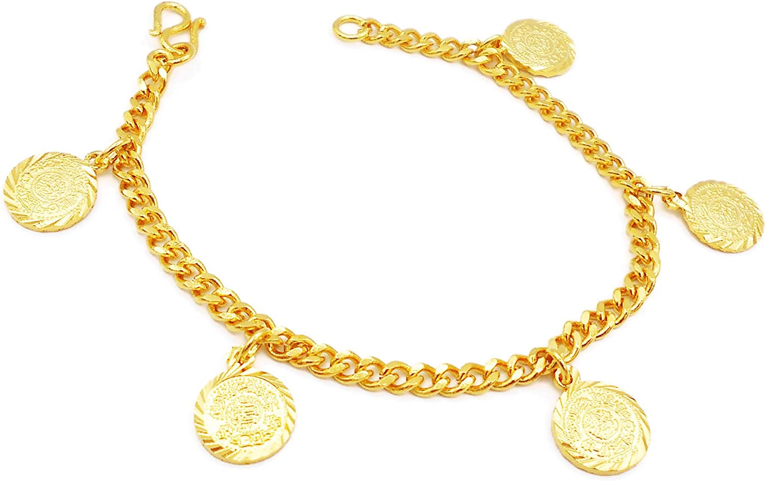 Coins Bracelets Bangle 18k 22k 23k 24k Thai Baht Yellow Gold Plated Jewelry Women For Her Costume Jewelry 6.5 Inch
