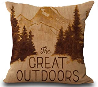 Andreannie Retro Vintage Background Wildlife Lodge Pine Forest The Great Outdoors Cotton Linen Throw Pillowcase Personaliz...