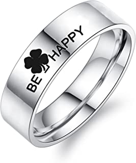 ANAZOZ Stainless Steel Rings Bands BE Happy Clover Promise Ring Bands[Price for 1pc]