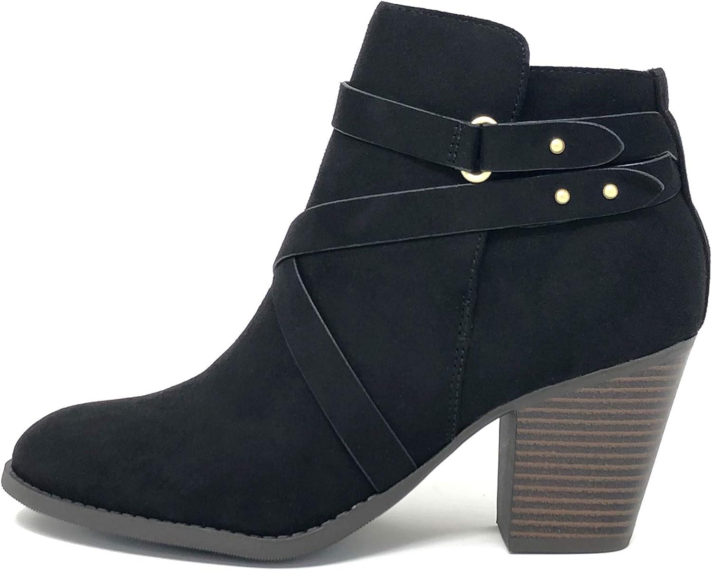 City Classified Comfort Soda Women's Groovy-S Round Toe Block High Heel Zip-Up Ankle Booties