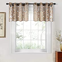Top Finel Kitchen Sheer Curtains Valance 18 Inch Length Floral Grommet Small Window Curtains for Basement Bathroom, 2 Panels, Brown