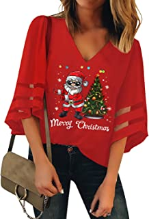 LookbookStore Women's Casual V Neck Mesh Panel 3/4 Bell Sleeve Blouse Loose Snowflake Santa Tree Top Ugly Christmas Holiday Graphic Shirt Red Large