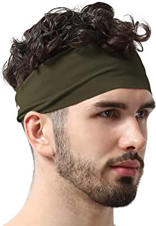 Mens Headband - Running Sweat Head Bands for Sports - Athletic Sweatbands for Workout/Exercise, Tennis & Football - Ultimate Performance Stretch & Moisture Wicking