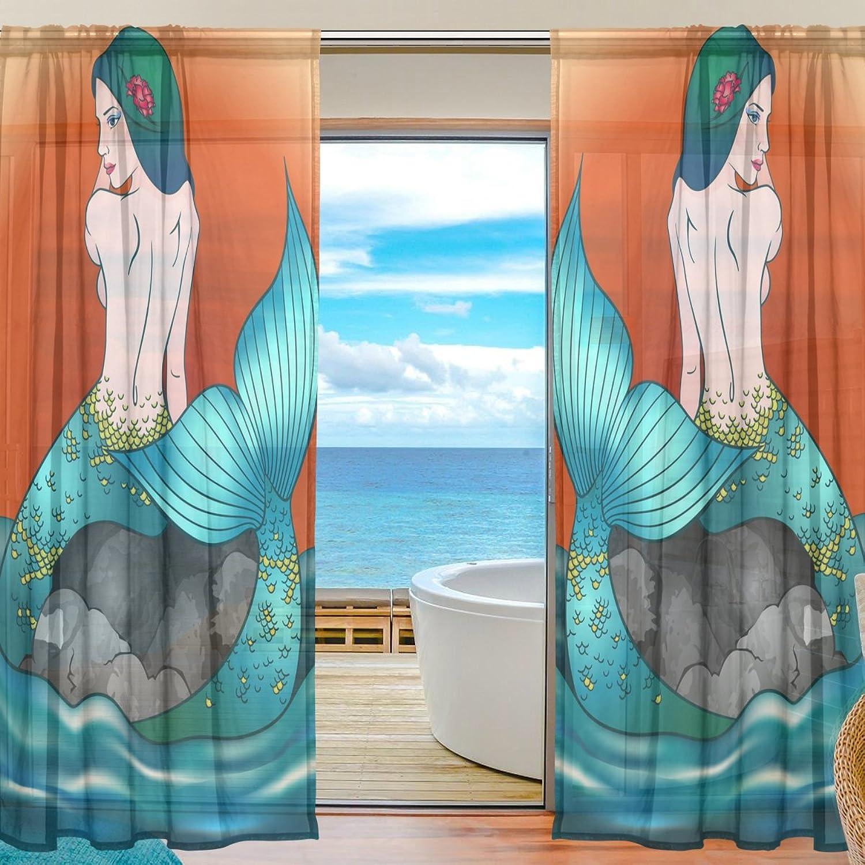 Vantaso Sheer Curtains 78 inch Beautiful bluee Mermaid orange Sunset for Kids Girls Bedroom Living Room Window Decorative 2 Panels