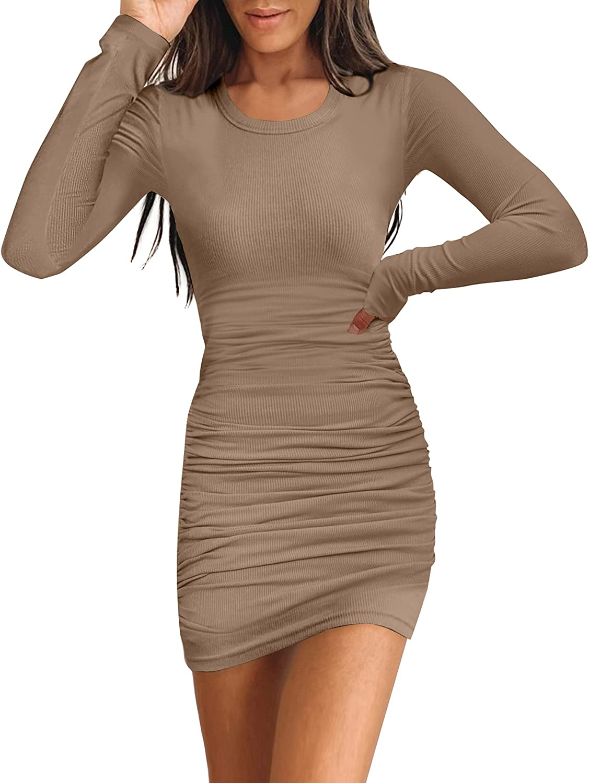 Sounity Women's Bodycon Knited Bodycon Dress Casual Beach Tank Mini Dress