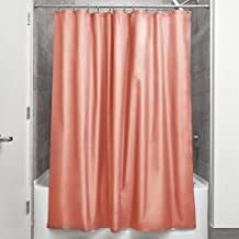 InterDesign Mildew-Free Water-Repellent Fabric Shower Curtain, 72-Inch by 72-Inch, Coral