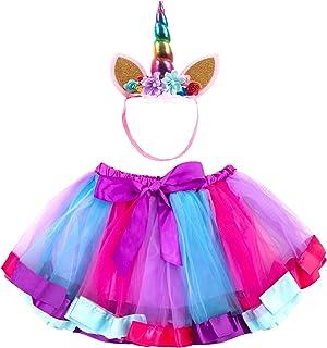 FUNNA Tutu for Toddler Girls Rainbow Layered Ballet Skirts with Unicorn Costume Headband