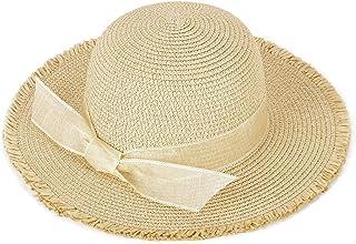 Ayliss Women Foldable Straw Hat Bowknot Edge Wide Brim Beach Sun Hat