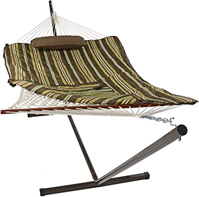 Sunnydaze Cotton Rope Freestanding Hammock with 12 Foot Portable Steel Stand and Spreader Bar, Pad and Pillow Included, Desert Stripe