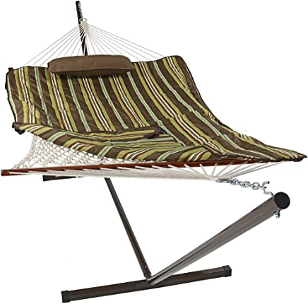 Sunnydaze Cotton Rope Hammock And Durable 12 Foot Stand Set W Quilted Pad Pillow