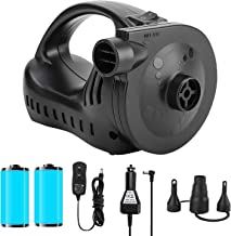 OlarHike Portable Quick-Fill Electric Air Mattress Pump for Pool Floats, Rechargeable Inflator Deflator with 110V AC & 12V DC Adapter, Black