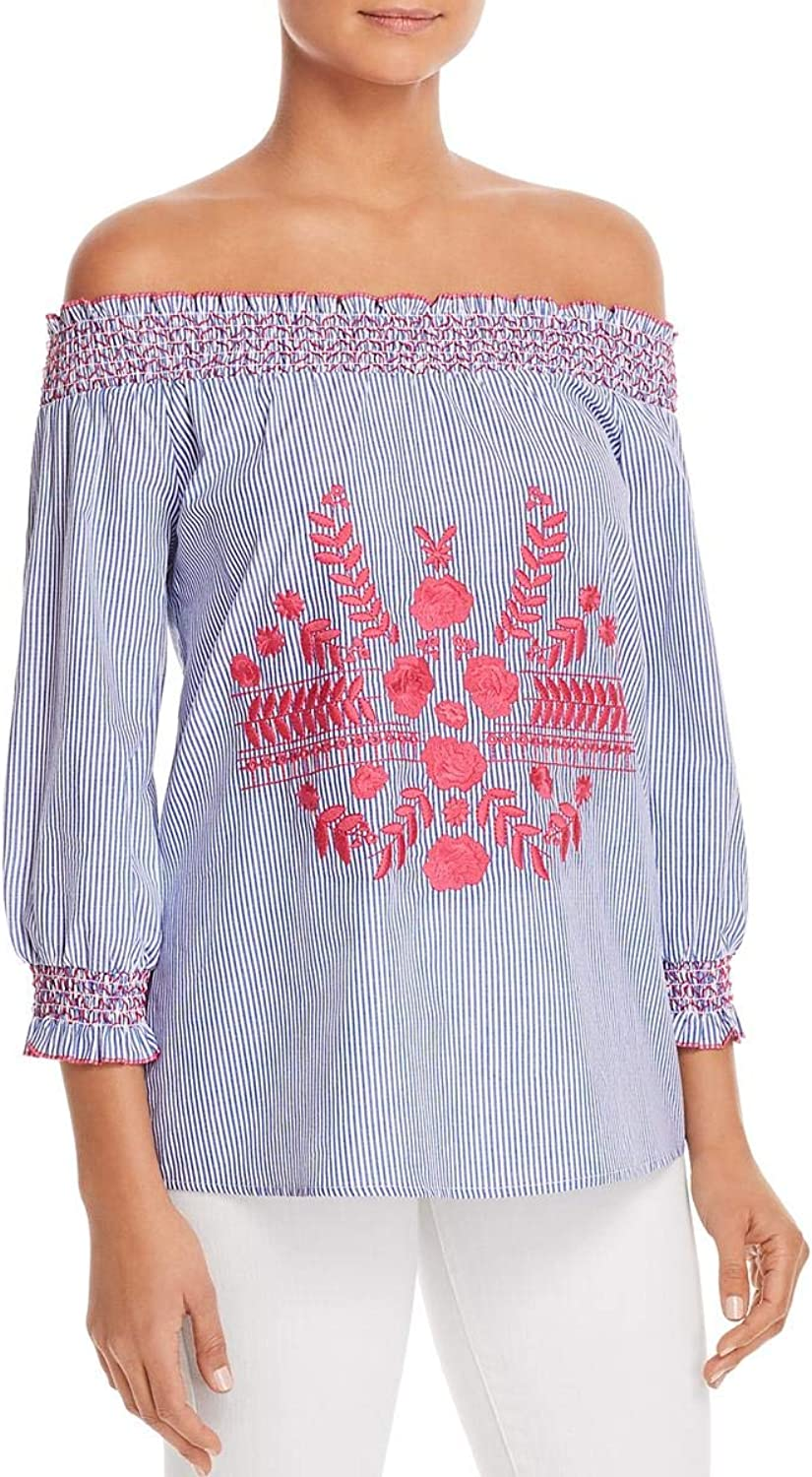 Design History Womens Embroidered Smocked Blouse