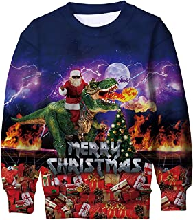 TUONROAD Boys Girls Christmas Sweatshirt Kids Teens Ugly Sweater 3D Graphic Xmas Jumper with Fleece for 6-16 Years Old