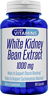 White Kidney Bean 1000mg – 180 Capsules – White Kidney Bean Supplement – Helps to Support Carbohydrate and Starch Blocking...