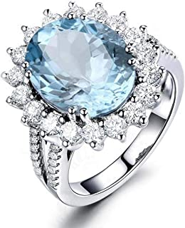 Ring for Women Fashion Sterling Silver Rings 10x12 MM Solitair Oval Shape Blue Topaz