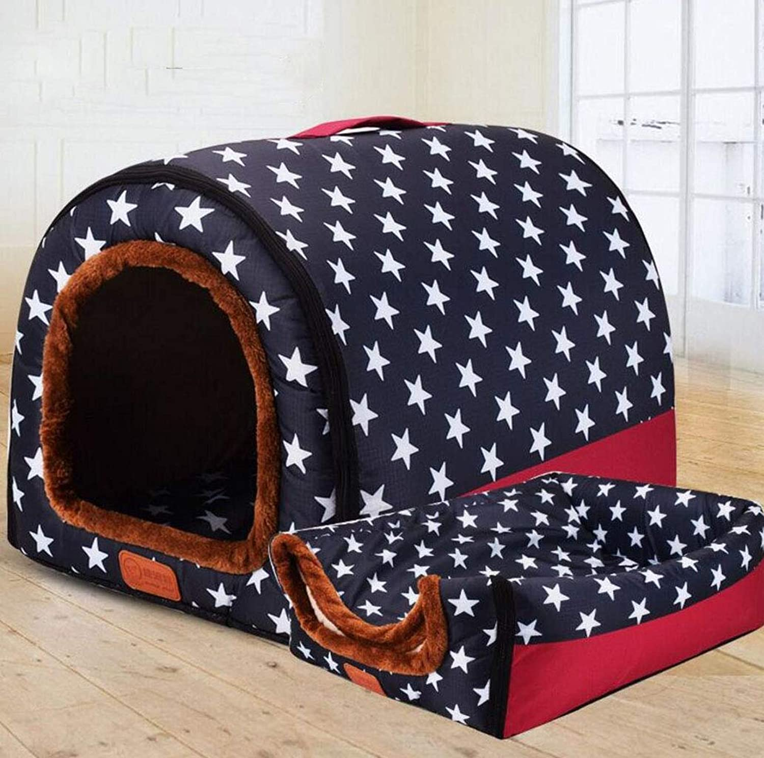 Removable and Washable arc House Dog Kennel pet House cat House pet nest Teddy golden Retriever Kennel (color   bluee, Size   M)