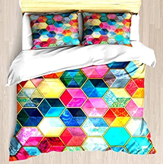 Crystal Bohemian Honeycomb Cubes - colorful hexagon pattern - Duvet Cover Set Soft Comforter Cover Pillowcase Bed Set Unique Printed Floral Pattern Design Duvet Covers Blanket Cover TWIN / XL Size