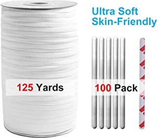 Elastic Band String 125 Yards (114 Meters) 1/4 Inch White and Nose Wire Strip(100pcs) Bundle