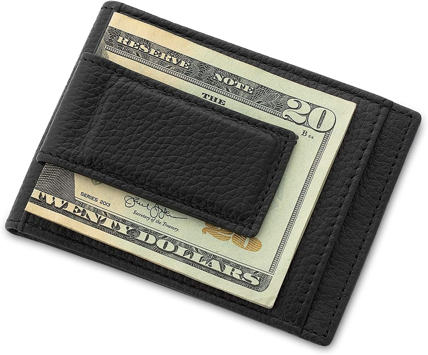 Things Remembered Personalized Leather Magnetic Money Clip Wallet Duo with Engraving Included