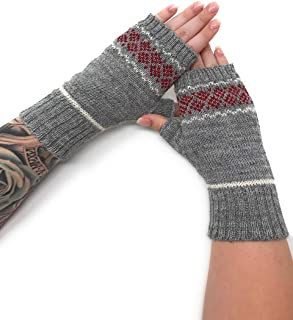 Women's 100% Alpaca Wool Fair Isle Geometric Fingerless Mittens -Texting Gloves - Wrist, Hand & Arm Warmers