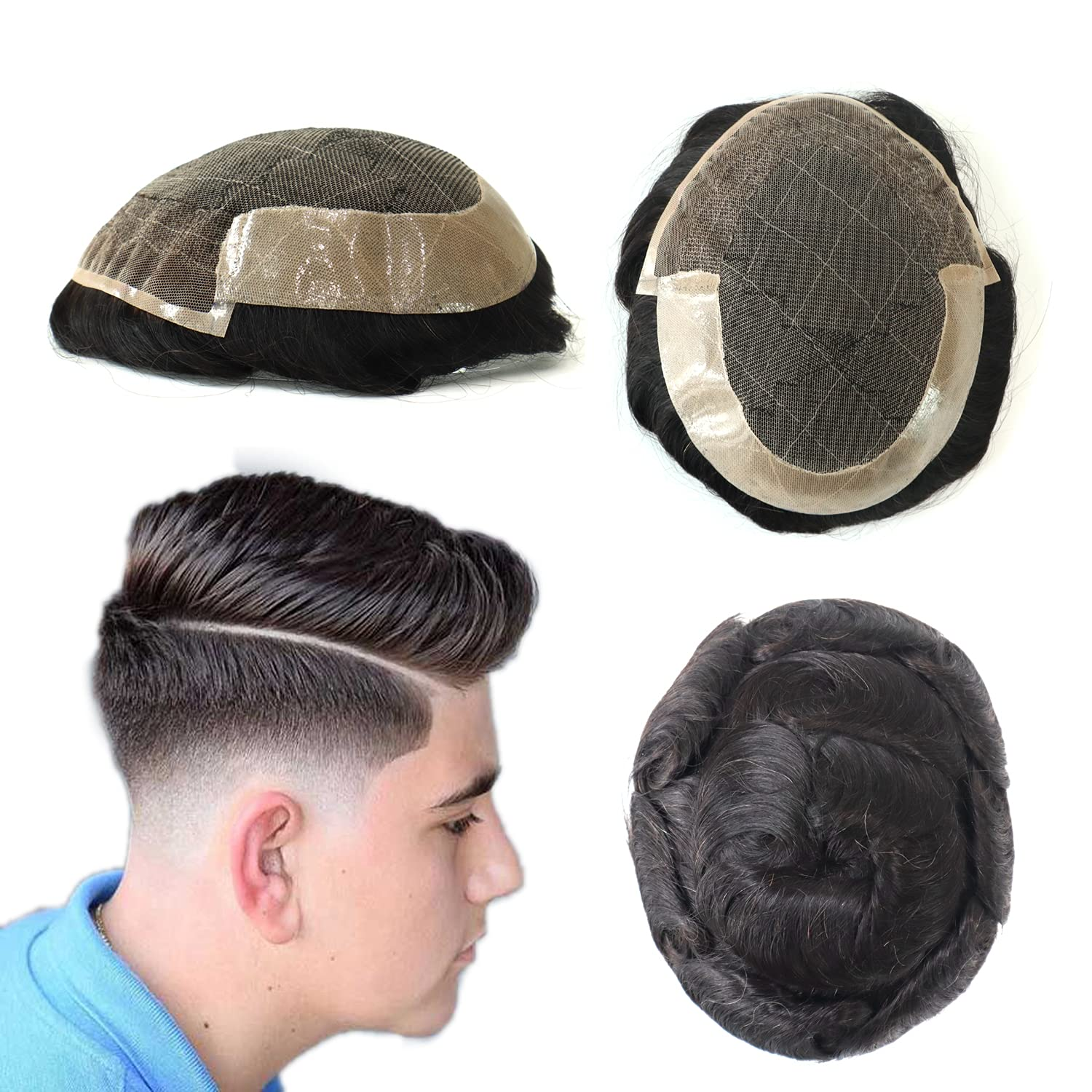 Natural Mens Toupee French Portland Mall Lace Front Rapid rise Hair Poly System Ski Human