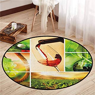 Pet Rugs,Wine,Wine Tasting and Grapevine Collage Green Fresh Field Pouring Drink Delicious,Anti-Slip Doormat Footpad Machine Washable,3'3