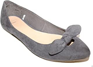 GAP Women's Gray Faux Suede Ballet Flats with Knot Bow at Toe