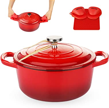 KUTIME Cast Iron Dutch Oven 6 Quart Enameled Dutch Oven, Bread Baking Pot with Lid, Red