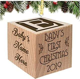 Babies First Christmas Ornament 2019 Keepsake Personalized Baby Block Custom Engraved Wooden My First Babys Baby's for Newborn Infant Boy, Girl, Mom, Dad, Grandparent 2018 1st Gift Date by Glitzby