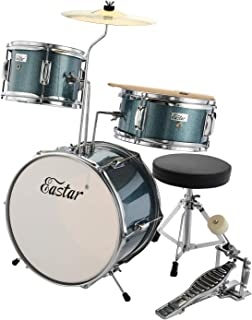 Eastar EDS-180SB 14 inch 3-Piece Kids/Junior Drum Set with Throne, Cymbal, Pedal & Drumsticks, Metallic Sky Blue