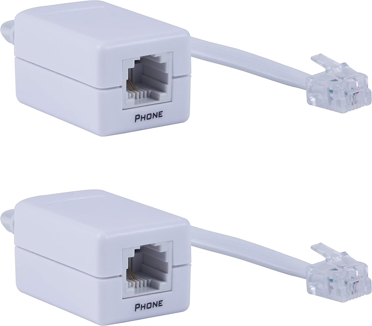 Power Gear Dsl Filter, 2 Pack, Phone Line, Connect to Standard Phone Jacks, Use for Home or Office, Supports Telephones, Fax Machines, Answering Machines, Universal Filter, All Brands, White, 46086