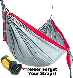 Camping Hammock with Tree Straps, Best Portable Parachute Hammocks for Hiking, Beach Fun, or Backyard Relaxation