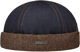Stetson Gorro Docker Winfield Denim Hombre - Made in The EU Vaquero Gorras de Gorra Docker, con Forro otoño/Invierno