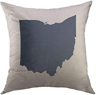 Mugod Decorative Throw Pillow Cover for Couch Sofa,Icon Map of the U State Ohio Outline..