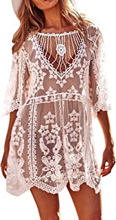 Vestido de Bikini Bordado para Mujer Transparente Ropa de Baño Playa con la Manga Suelta de Moda Traje de Baño Verano para Bikini Camisolas Larga etc
