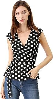 Allegra K Women's V Neck Sleeveless Self Tie Wrap Front Dotted Top