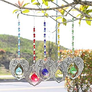 H&D Crystal Suncatcher Angel Wing Pendant with 20mm Chandelier Prisms Rainbow Suncatcher Crystal Ball Suncatcher Prism,Pac...