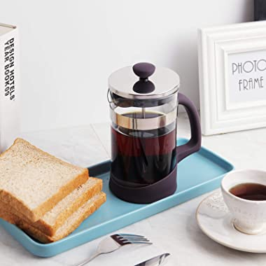 French Press Coffee Maker, Kitchenexus Coffee Press & Tea Maker with Stainless Steel Filter, Portable Glass Coffee Press
