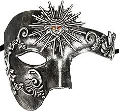 Thmyo Fantasma clásico de la Cara de los Hombres de la Mitad del diseño de la Vendimia de la máscara Veneciana del Carnaval de la ópera del Fantasma (Dios Sol Plata Antigua)