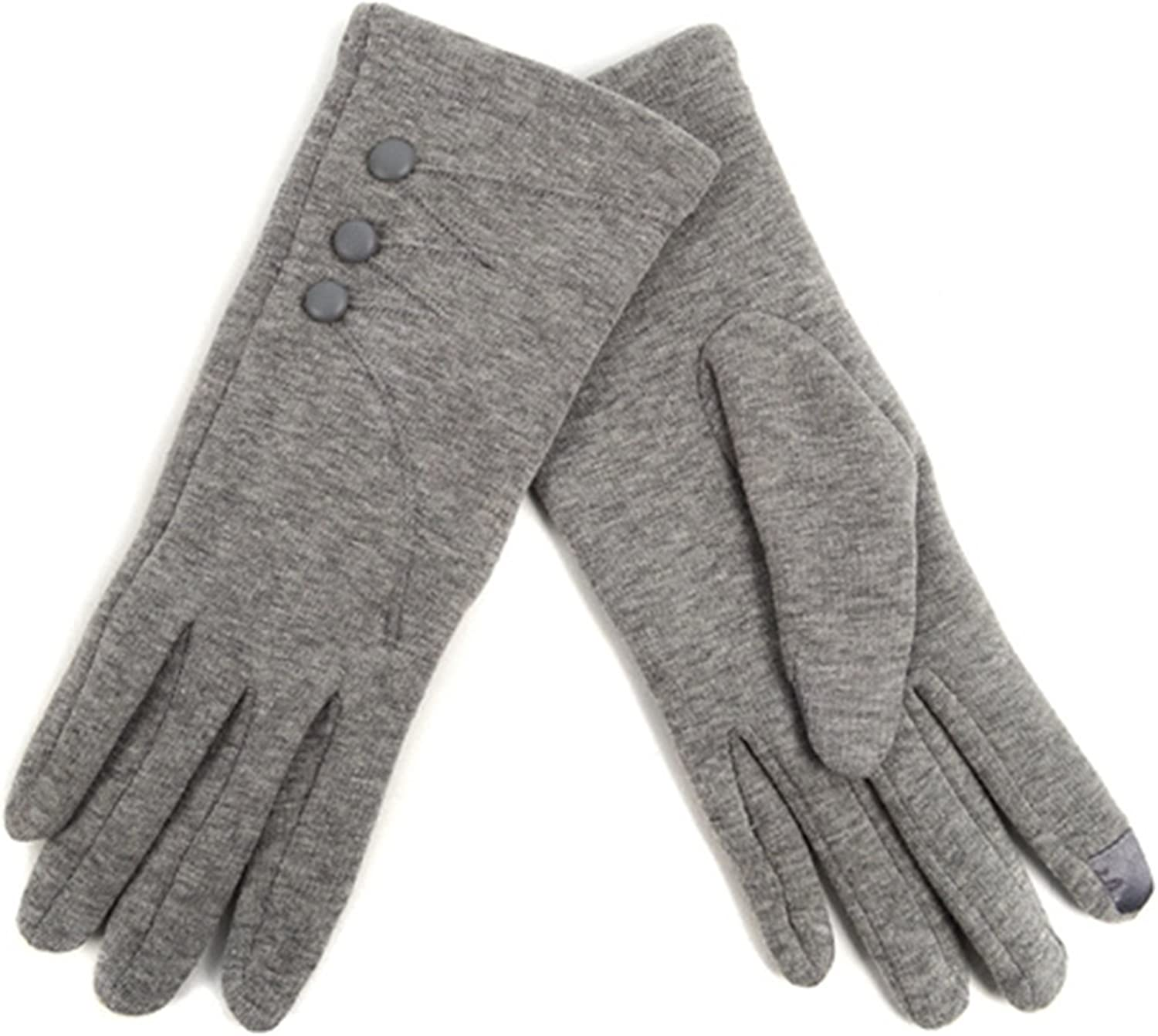 Women's Grey Stylish Touch Screen Gloves with Button Accent & Fleece Lining SM