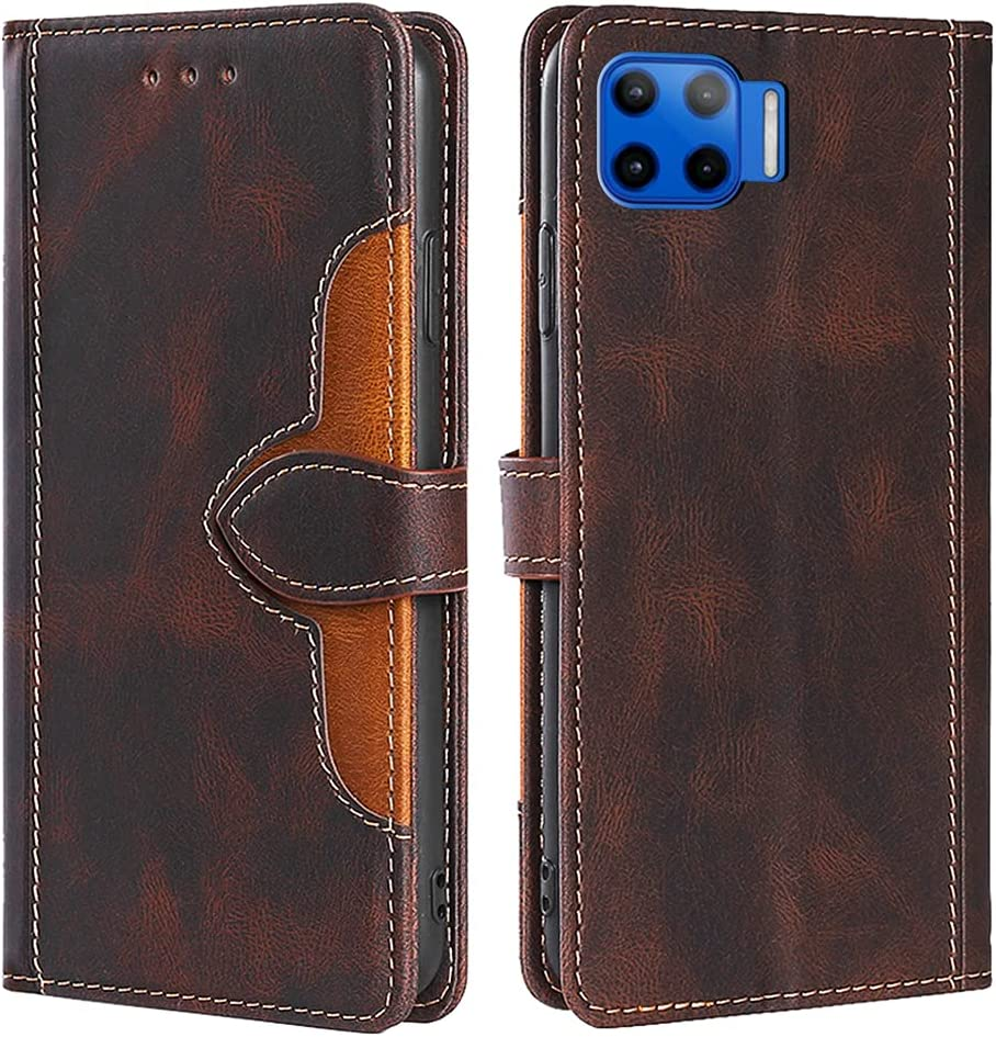 CSTMCASE Leather Wallet Case for Moto One 5G,Moto One 5G UW/Moto G 5G Plus Case,Flip Folio Book Credit Card Holder Shockproof Phone Case Cover for Motorola Moto One 5G(Brown)
