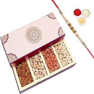 Ghasitaram Gifts Rakhi Gifts for Brothers Rakhi Dryfruits - Long Fusion 4 Part Dryfruit Box with Pearl Rakhi