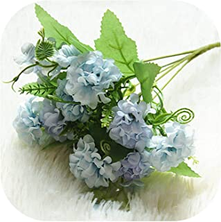 9 Heads Hydrangea Artificial Flowers Ball Bunch Fake Flowers Silk DIY Home Decor Faux Flowers Wedding Decoration Table Bouquet,Blue
