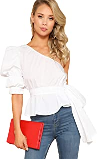 Women's One Shoulder Short Puff Sleeve Self Belted Solid Blouse