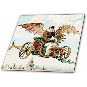 6-Inch 3dRose ct/_102672/_2 Steampunk Bees and Flowers Funk Design-Ceramic Tile
