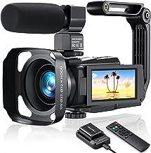 دوربین فیلمبرداری 4K دوربین فیلمبرداری ، MELCAM Vlogging Camera 48MP 60FPS WIFI دوربین YouTube با صفحه لمسی IPS ، IR Night Vision ، Time-Lapse ، میکروفون خارجی ، تثبیت کننده ، هود ، کنترل از راه دور 2.4G ، شارژر باتری