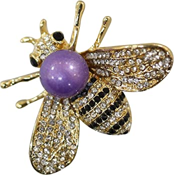 Zuozuoya Honey Bee Brooch with Gold,Silver and Colorful Tone Brooch Pins